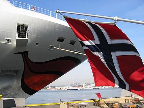 Die AIDAblu im Hafen von Oslo, Norwegen