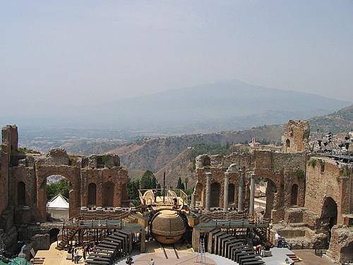 Das griechische Theater in Taormina, Sizilien