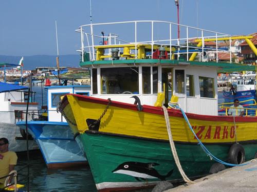 Mit einem Boot lassen wir uns zurück bringen