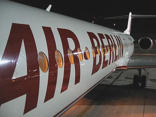 Kleine Besonderheit beim Rückflug: Fluggerät ist eine Fokker 100