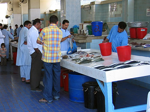 Fischmarkt in Fujairah in den Vereinigten Arabischen Emiraten