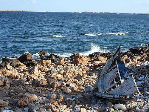 Die Mittelmeerküste bei Alexandria, Ägypten