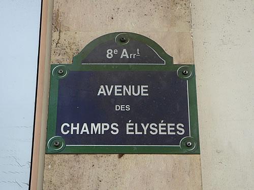 Straßenschild der Avenue des Champs-Élysées