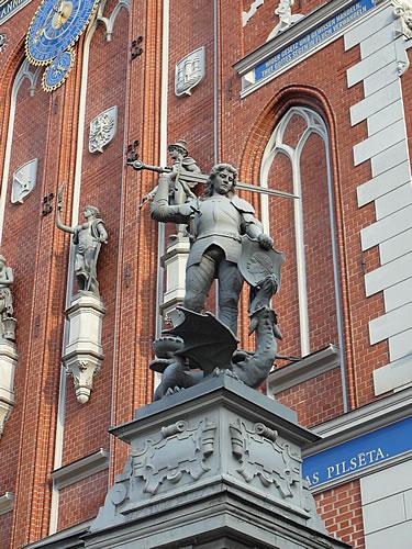 Detail am Schwarzhäupterhaus in Riga