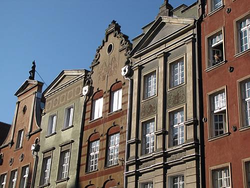 Bürgerhäuser verschiedenster Stilepochen in Danzig