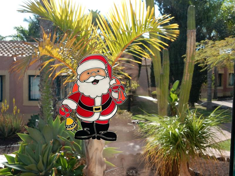 Weihnachtsliches Fensterbild in unserem Bungalow