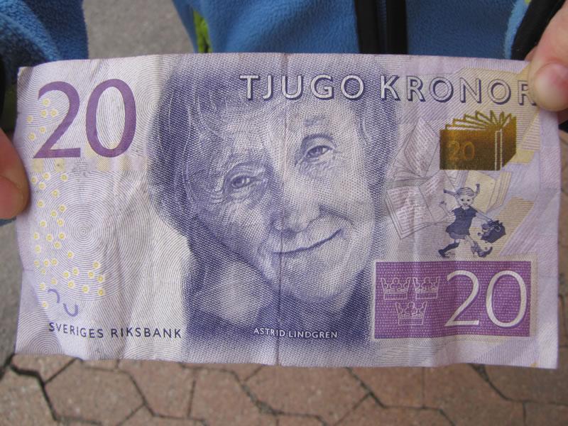 20 Kronen Schein mit Pippi Langstrumpf drauf